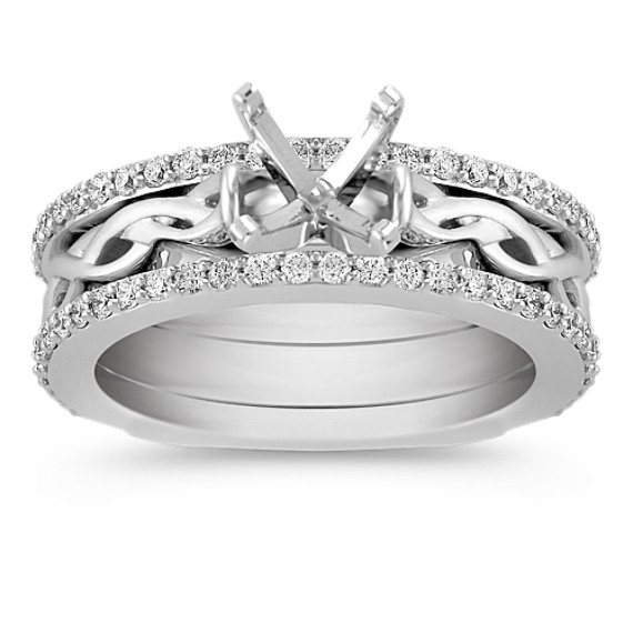 Swirl Diamond Woven Wedding Set