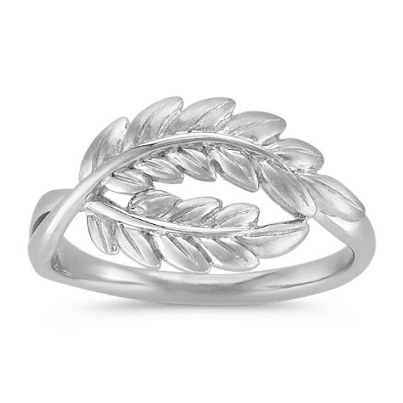 Swirl Double Leaf Ring in Sterling Silver