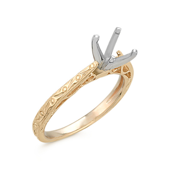 Swirl Engraved Cathedral Solitaire 14k Yellow Gold Engagement Ring