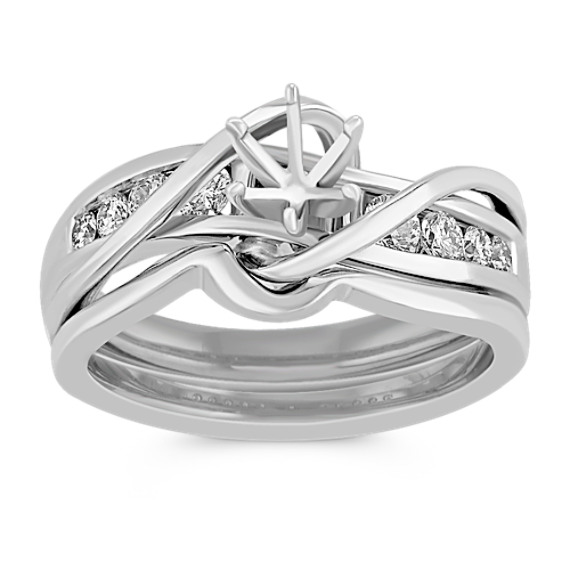 Swirl Over Channel Set Diamond Wedding Set with Channel-Setting
