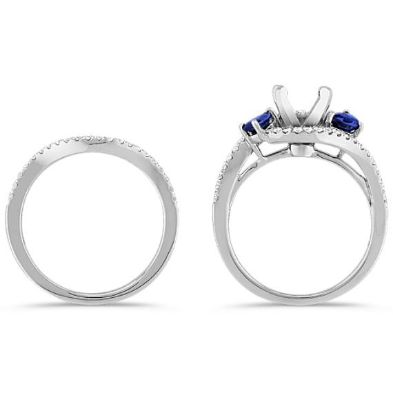Swirl Pear-Shaped Sapphire and Round Diamond Wedding Set