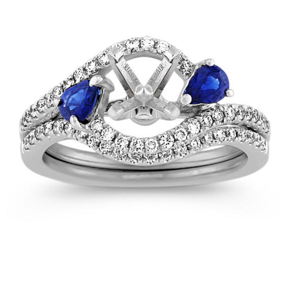 Swirl Pear Shaped Sapphire and Round Diamond Wedding Set at Shane Co