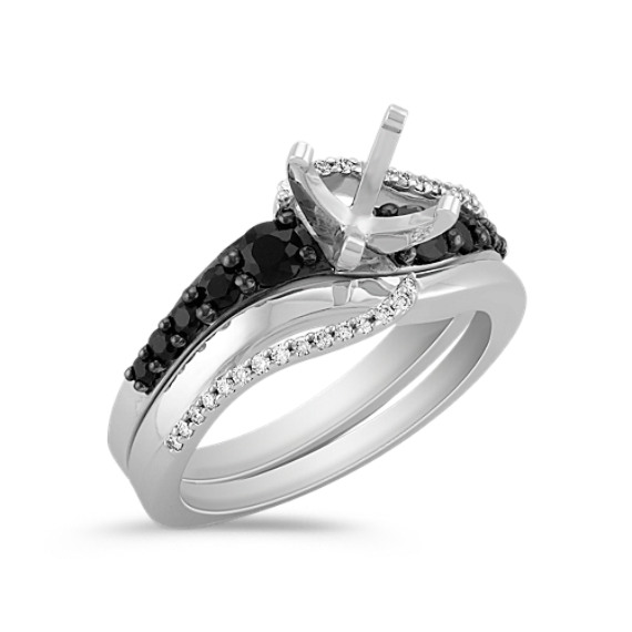 Swirl Round Black Sapphire and Diamond Wedding Set with Black Rhodium