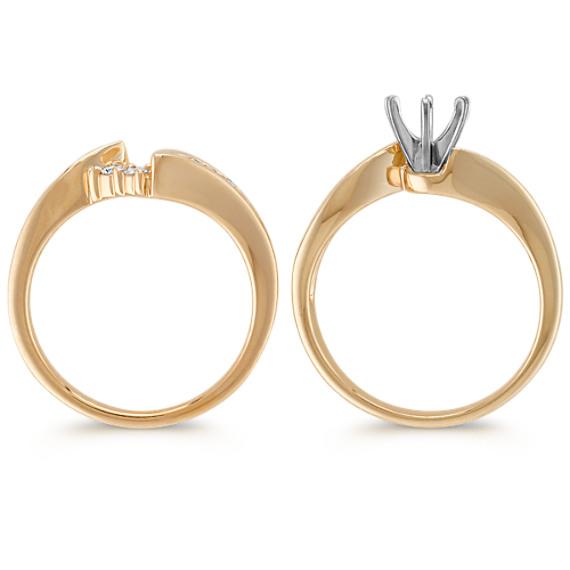 Swirl Round Diamond Wedding Set in 14k Yellow Gold
