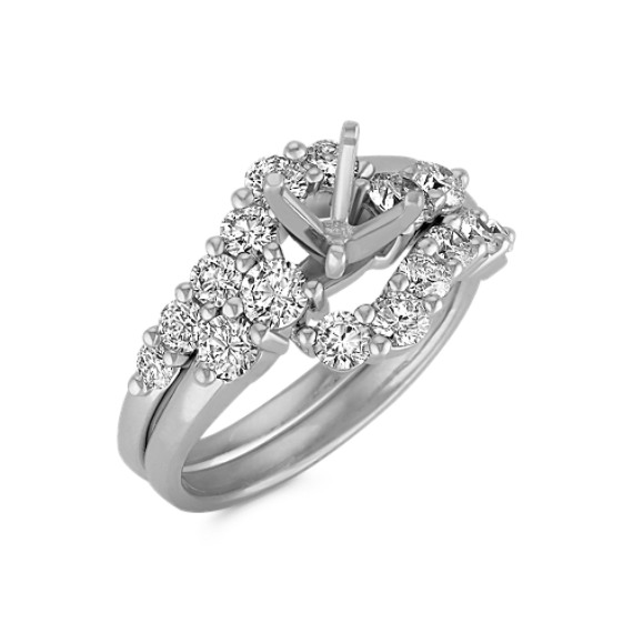 Swirl Round Diamond Wedding Set
