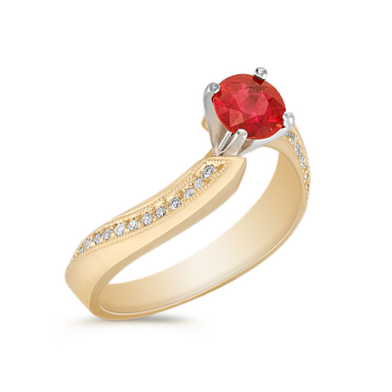 Swirl Ruby and Diamond Ring