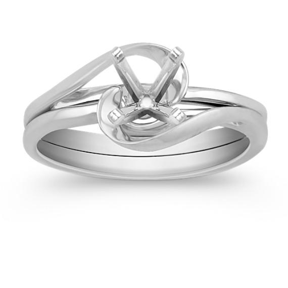 Swirl Solitaire White Gold Wedding Set