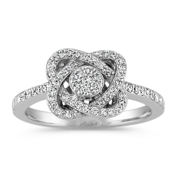 Swirling Knot Round Diamond Cluster Ring