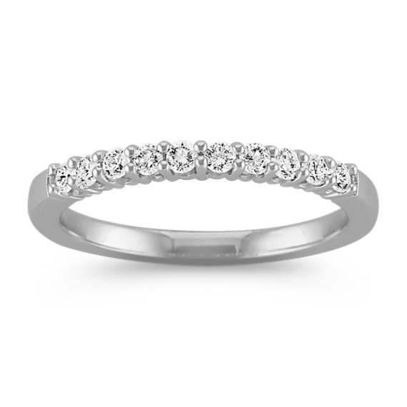 Ten-Stone Classic Round Diamond Wedding Band in White Gold
