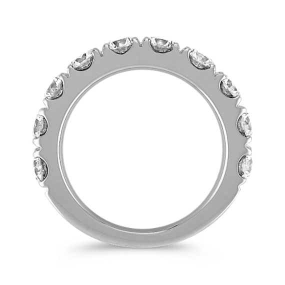 Ten Stone Diamond Wedding Band in White Gold