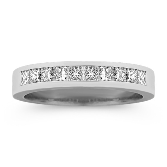 Ten Stone Princess Cut Diamond Wedding Band