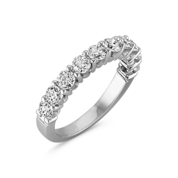 Ten-Stone Round Diamond Wedding Band in White Gold