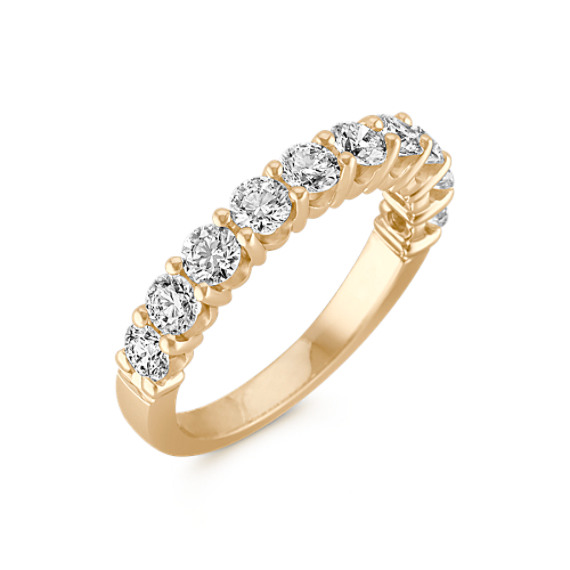 Ten-Stone Round Diamond Wedding Band in Yellow Gold