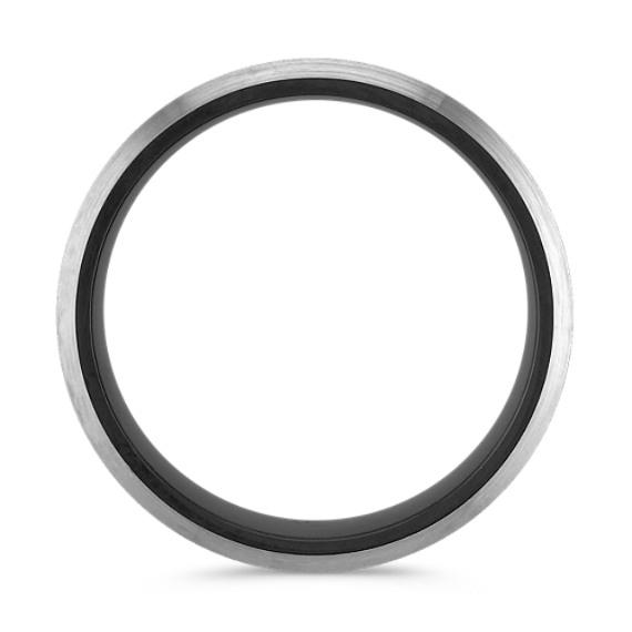 Textured Black Cobalt Comfort Fit Ring (7mm)