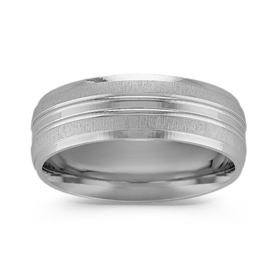 Textured Comfort Fit 14k White Gold Band (8mm)