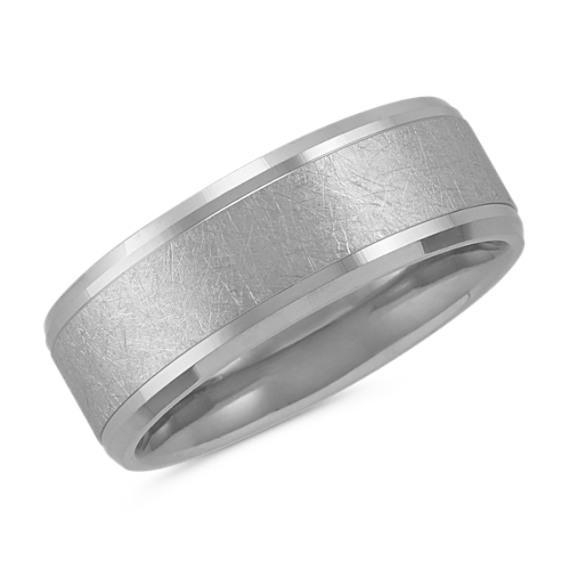 Textured Men's Ring in 14k White Gold (8mm)