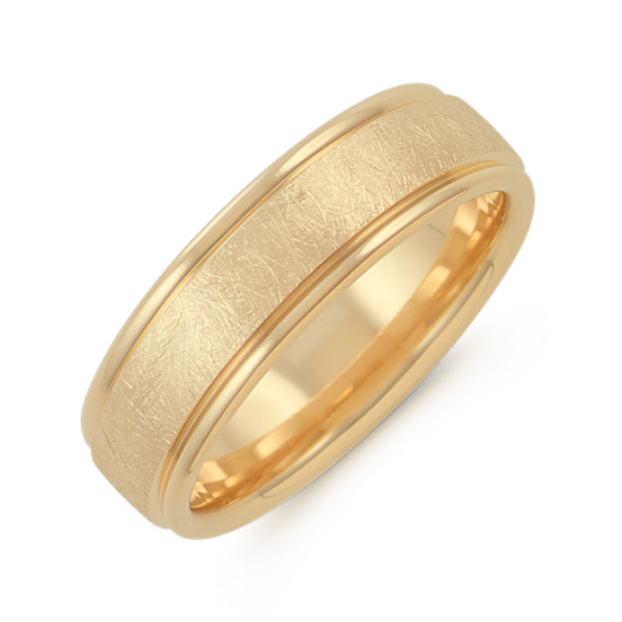 Textured Men's Ring in 14k Yellow Gold (6.5mm)