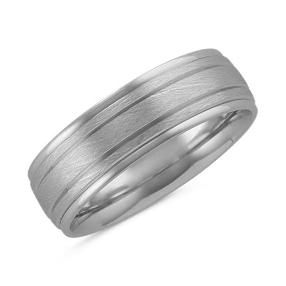 Textured Men's Ring in 14k White Gold (7 mm)