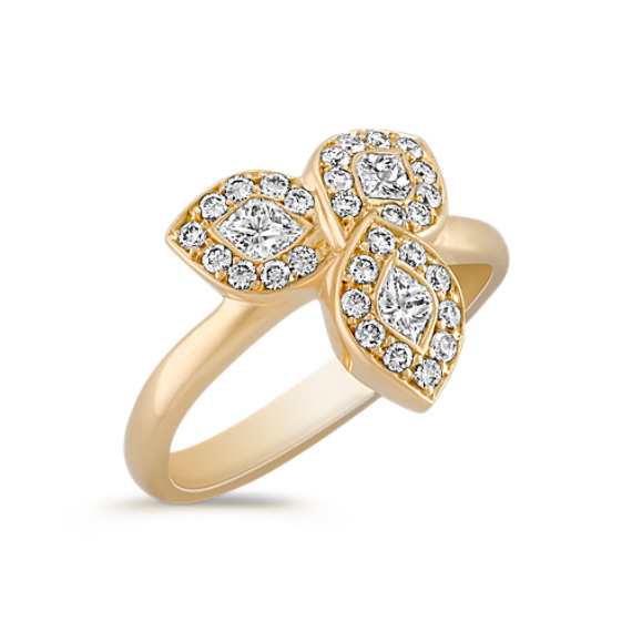 Three Petal Calla Cut and Round Diamond Ring