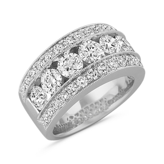 Three Row Diamond Fashion Ring with Milgrain Detailing