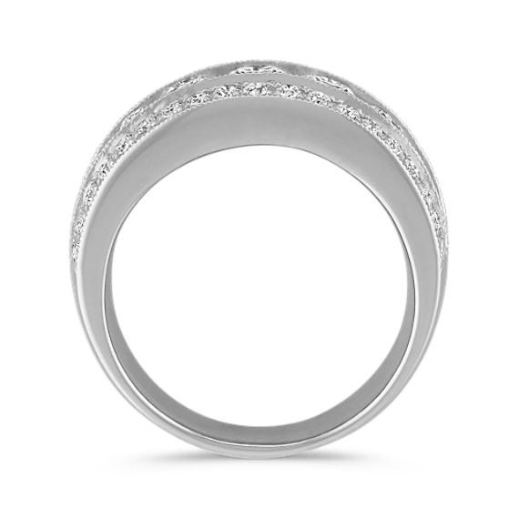 Three Row Diamond Ring with Milgrain Detailing