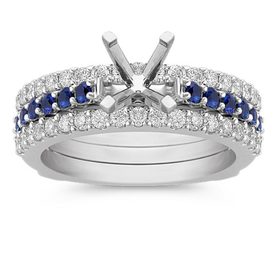 Three Row Round Sapphire and Diamond Wedding Set with Pavé Setting
