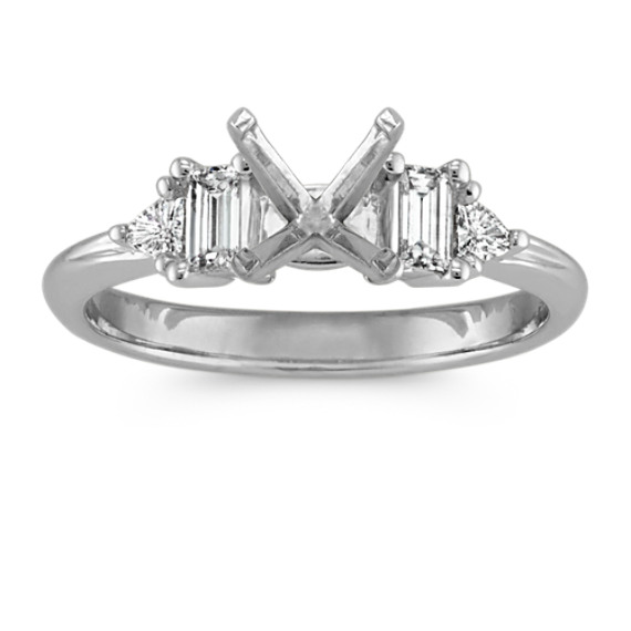 Three-Stone Baguette 14k White Gold Engagement Ring with Two Trillion Diamonds