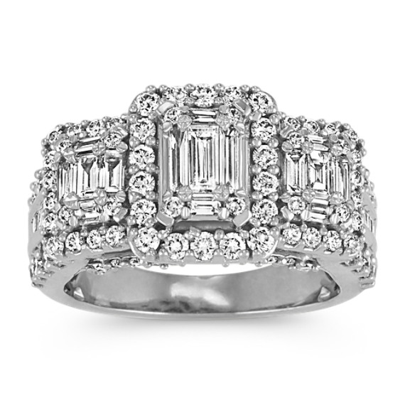 Three-Stone Baguette and Round Diamond Ring