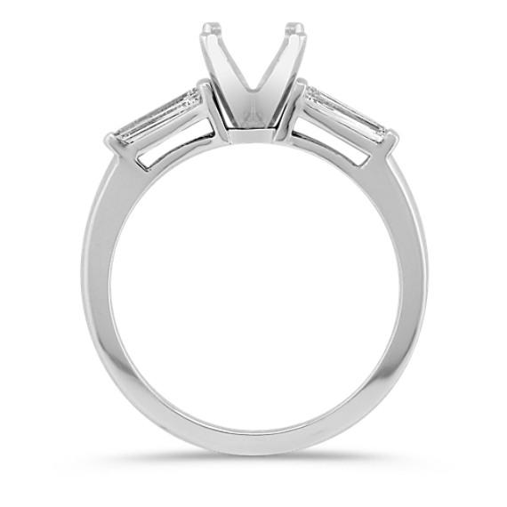 Three Stone Baguette Cut Diamond Engagement Ring in Platinum