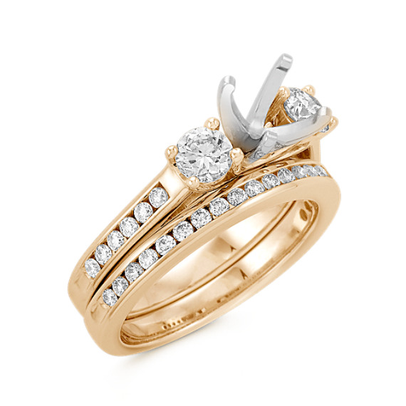 Three-Stone Cathedral Channel-Set Diamond Wedding Set