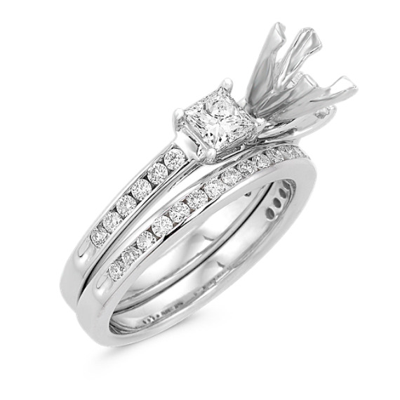 Three-Stone Cathedral Princess Cut and Round Diamond Wedding Set