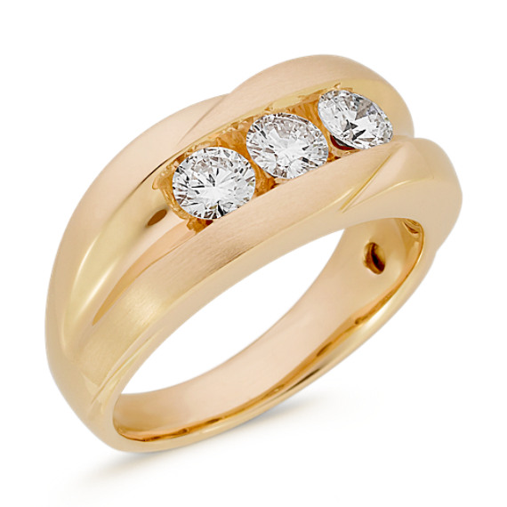 Three-Stone Channel-Set Round Diamond Ring (7mm)