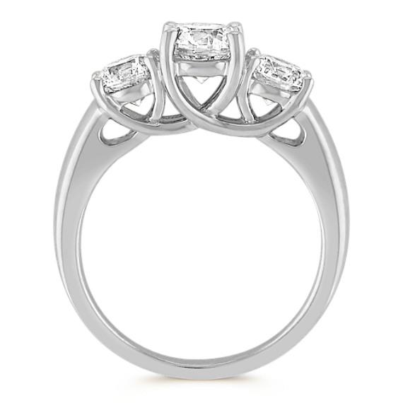 Three-Stone Diamond Ring in 14k White Gold