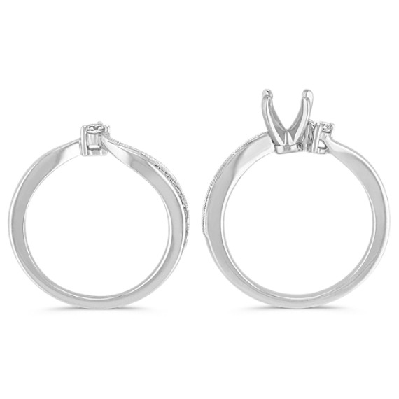 Three-Stone Diamond Swirl Wedding Set in 14k White Gold