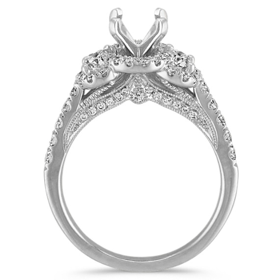 Three Stone Halo Oval and Round Diamond Engagement Ring at Shane Co