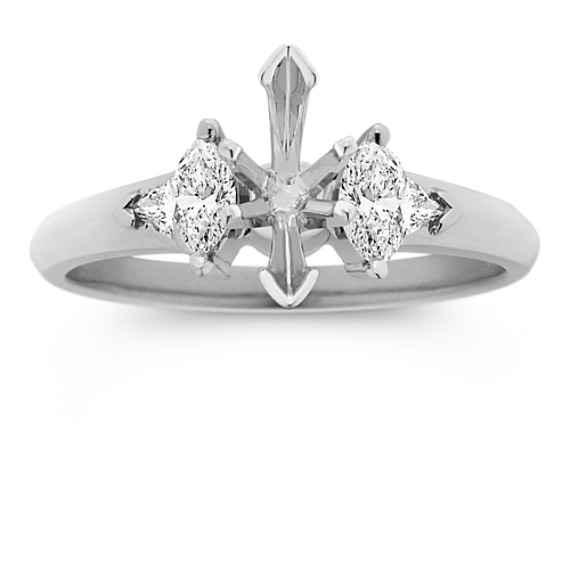 Three-Stone Marquise and Trillion Cut Diamond Engagement Ring