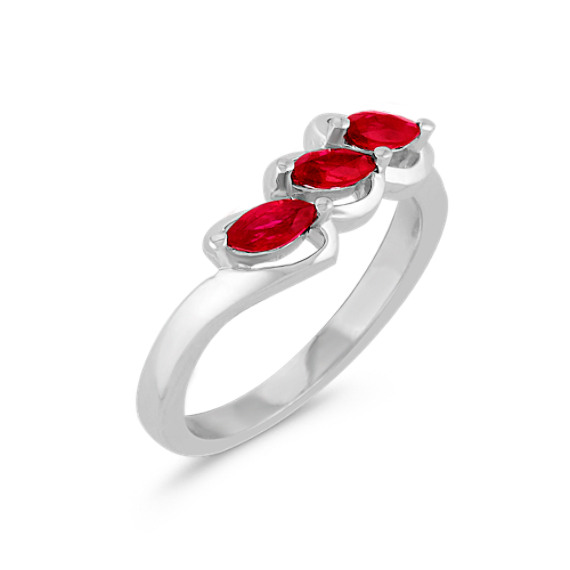 Three-Stone Marquise Ruby Ring