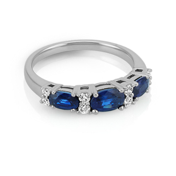 Three-Stone Oval Traditional Sapphire and Round Diamond Ring