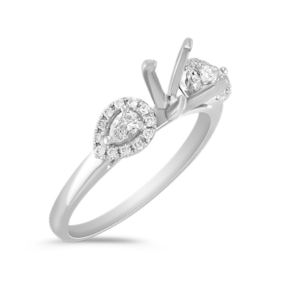 Three-Stone Pear Shaped and Round Diamond Engagement Ring with Pavé Setting