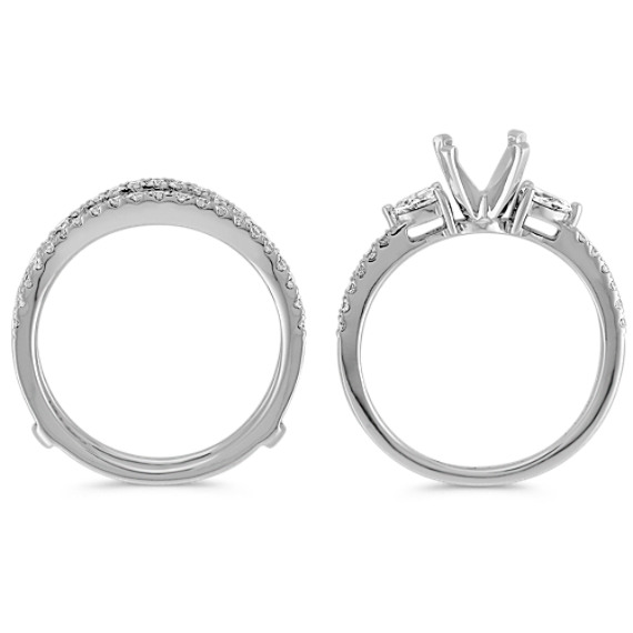 Three-Stone Pear-Shaped and Round Diamond Wedding Set