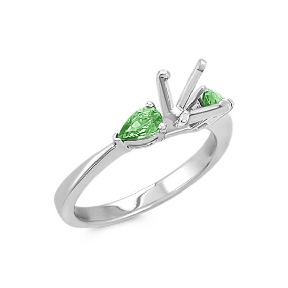 Three-Stone Pear-Shaped Green Sapphire Engagement Ring