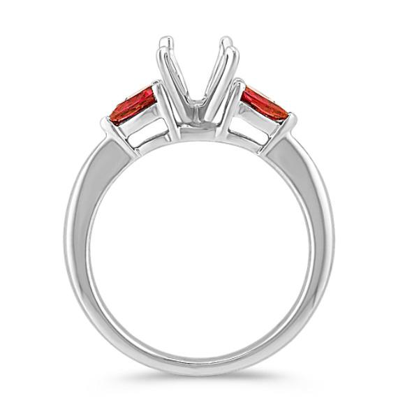 Three-Stone Pear-Shaped Ruby Engagement Ring