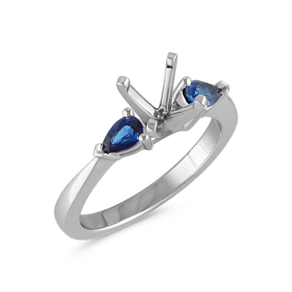 Three-Stone Pear Shaped Sapphire Platinum Engagement Ring