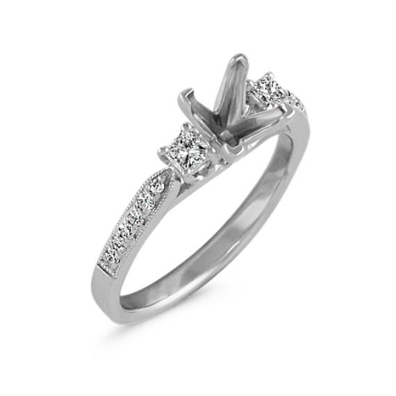 Three-Stone Princess Cut and Round Diamond Engagement Ring