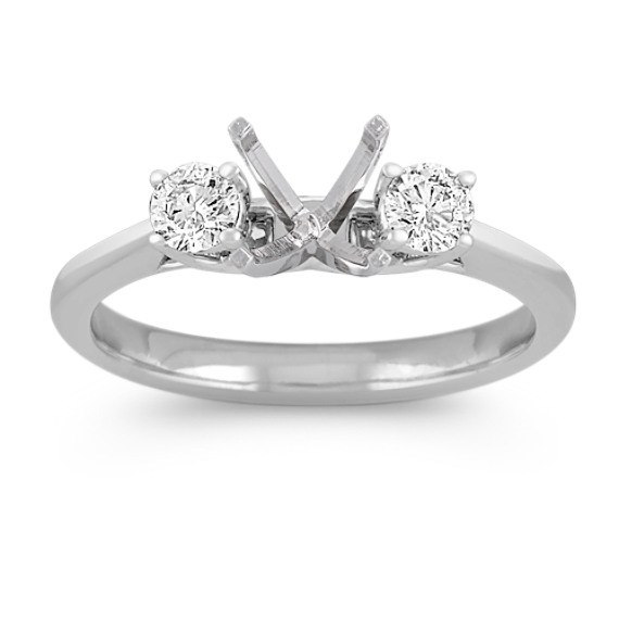 Three-Stone Round Diamond Engagement Ring in White Gold