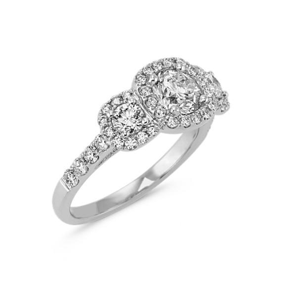Three-Stone Round Diamond Ring with Pavé-Setting in 14k White Gold