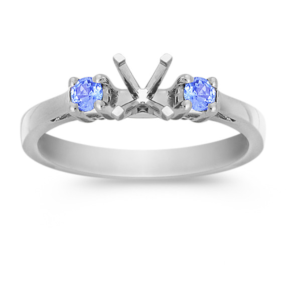 Three-Stone Round Ice Blue Sapphire Engagement Ring
