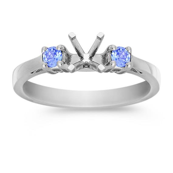 Three-Stone Round Ice Blue Sapphire Engagement Ring