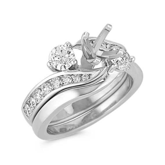 Three-Stone Swirl Diamond Wedding Set with Channel-Setting