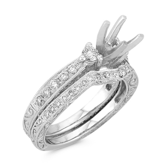 Three-Stone Vintage Diamond Engagement Ring with Pavé Setting